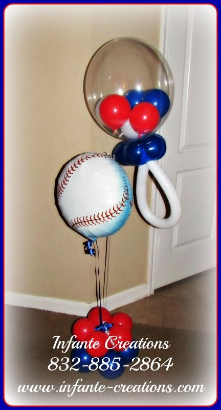 Baseball Themed Baby Shower Bubble Pacifier Centerpiece # ...