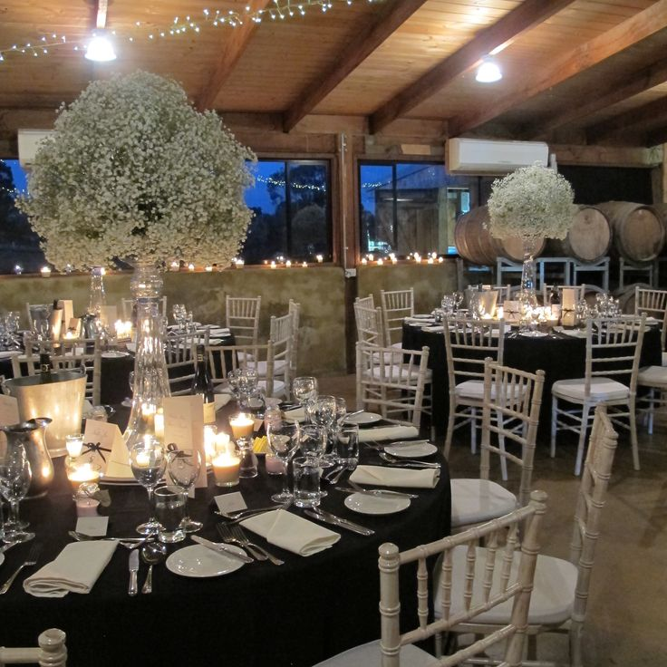 Balls of Baby's breath for guest table