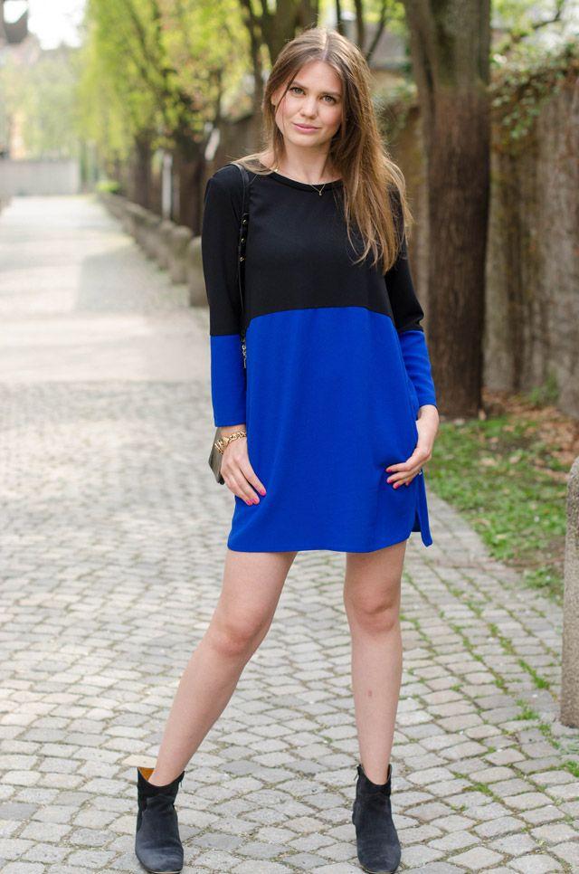 DIe Fashion-Bloggerin Olga von http://www.lapetiteolga.com/ in einem blauen Colour-Blocking-Look
