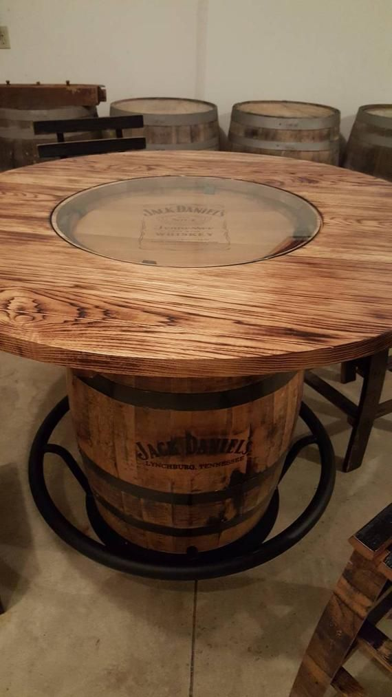 Jack Daniels Whiskey Barrel Table With 4 Stave Chairs And Metal