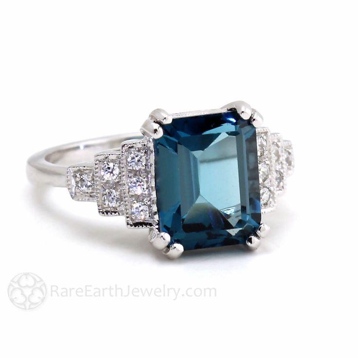 Vintage Ring Art Deco Ring London Blue Topaz Ring Diamond Antique Milgrain 14K or 18K Gold December Birthstone Gemstone Ring by RareEarth on Etsy https://www.etsy.com/listing/199984709/vintage-ring-art-deco-ring-london-blue