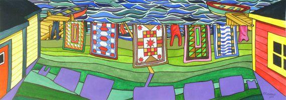 "Five Quilts 10.5"" X 29"" Original Painting Newfoundland Art By Artist Reilly Fitzgerald"