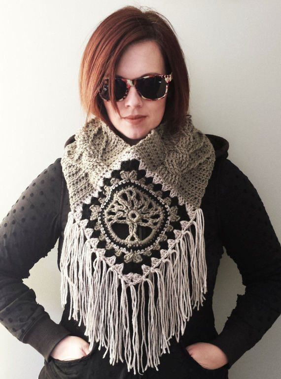 Tree of Life Fringed Cowl CROCHET PATTERN cable stitch post granny square diamond fringes cozy boho bohemian spiritual meaning worsted