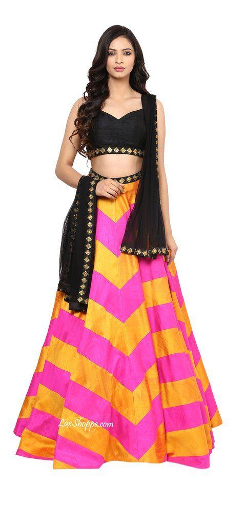 Hot Pink, Yellow & Black Sequins Lehenga