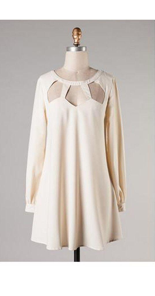 DRESSES   Ivory Cut Outs Dress   www.ellieandbea.com