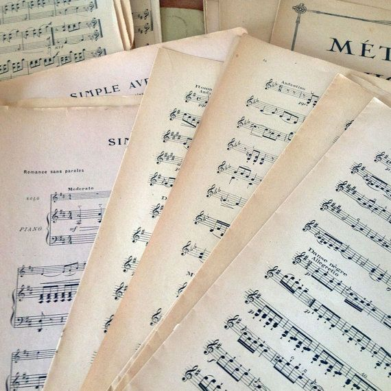 How about making your own wedding invitation envelopes with these vintage French music sheets! 13 French Music Sheets Double Page and 16 by 3rdshelffromthetop, $35.00