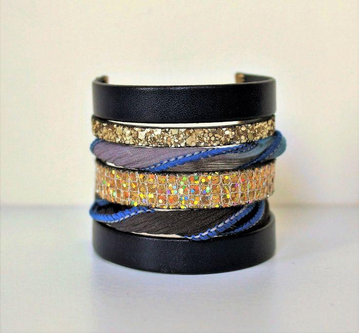 Bracelet multi rangs cuir soie Océan ethnique oriental doré bleu et bronze bracelet cuir femme