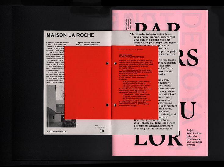 Le Parcours du Modulor est un objet éditorial présentant un projet d'architecture éphémère à Venise en hommage au Corbusier.Projet réalisé dans le cadre du cours de Design Editorial de Muriel Paris et Marie Philippe à Penninghen.Design Editorial // Sit…