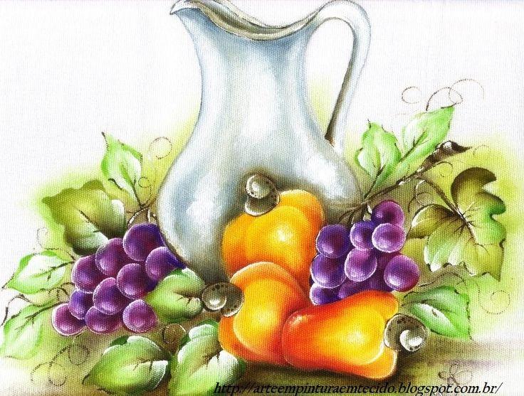 pintura em tecido frutas caju e uvas                                                                                                                                                                                 Mais
