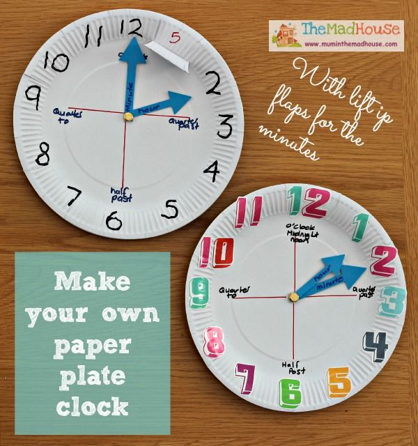 How to make a paper plate clock (pinned by Super Simple Songs) #educational #resources for #children