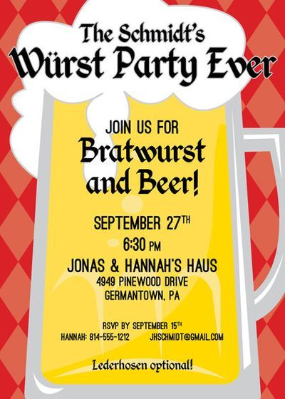 Oktoberfest Party Invitation - hahaha. Too funny