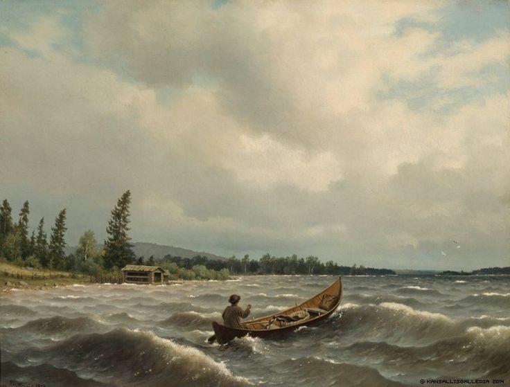 Ferdinand von Wright (1822-1906) Savolaisvene järvellä / A Savo Boat on a Lake 1879 - Finland