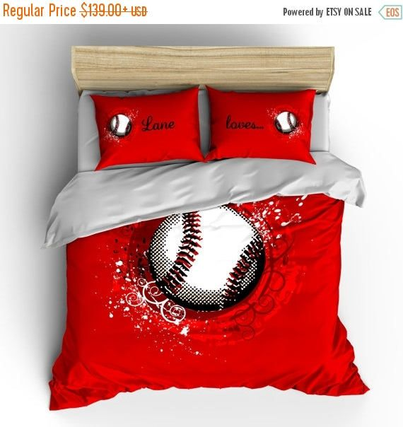 4th of July Sale Custom Red Baseball Bedding wcovers