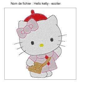 Motif Broderie Hello Ketty - Ecolière - Fil d'arc-en-ciel