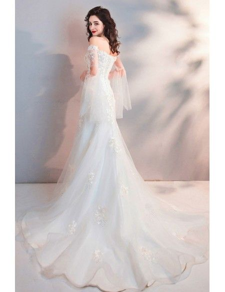 6ac917598b Fairy Mermaid Long White Tulle Wedding Dress With Appliques Sleeves  Wholesale #T69020 - GemGrace.com