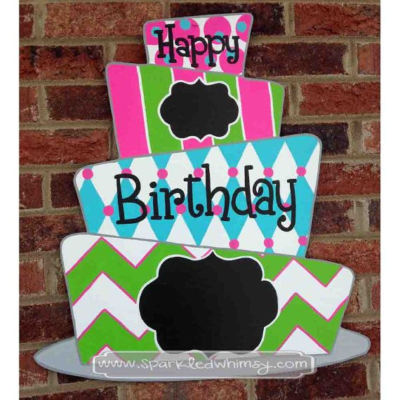 Chalkboard Birthday Cake Door Hanger Sign by Sparkled Whimsy
