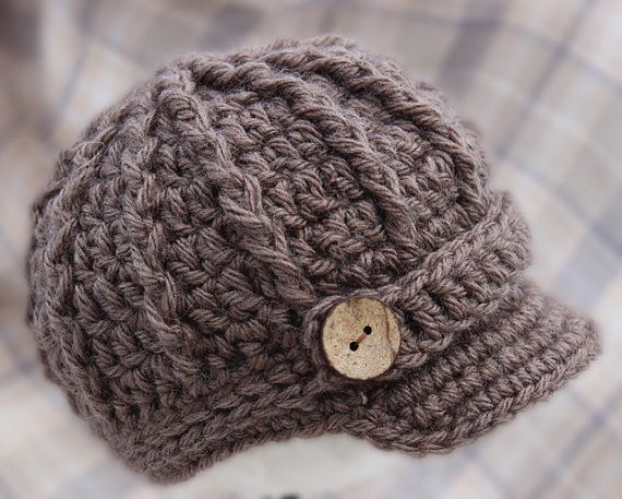 Knitted Baby Boy Hat Patterns : Newborn Boy Brim Hat - Taupe Newsboy Cap / Hat / Beanie - Knit / Crochet - Ba...