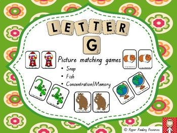 """Love the images :)  Letter """"G"""" matching games.  Both hard and soft beginning letter sounds.  Fish, Memory/Concentration, Snap...Hot off the Press!!!"""