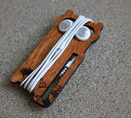 Super cute laser cut earbud owl