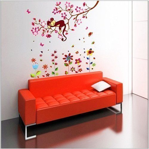 Gro�er Wand Sticker Blumen Affe Schmetterling Kinder Wandsticker Baum Papier