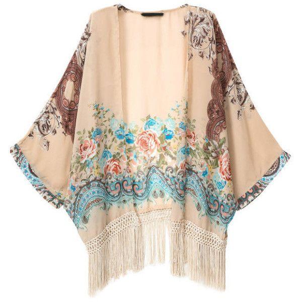 Apricot Polyester Long Sleeve Print Tassel Kimonos, Size Available: S,M,L Length(cm): S:60cm,M:61cm,L:62cm Sleeve Length(cm): S:53cm,M:54cm,L:55cm Sleeve Lengt…