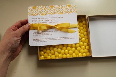 cute little invites with candy bottom