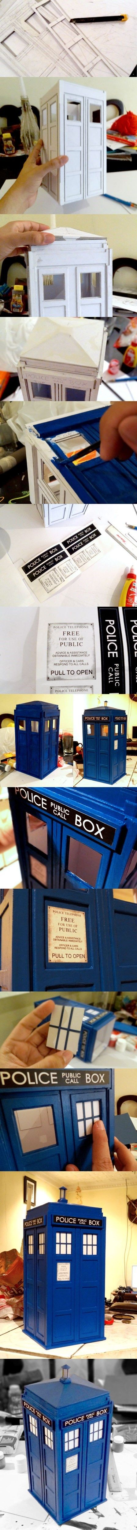 Paper Craft Your Own Public Call Box!      Can I put a little David Tenant inside?!