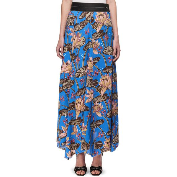 Loewe Floral-Print Maxi Skirt w/Leather Waist featuring polyvore, women's fashion, clothing, skirts, blue pattern, women's apparel skirts, floral print long skirt, long leather skirt, blue maxi skirt, blue skirts and floral print maxi skirt