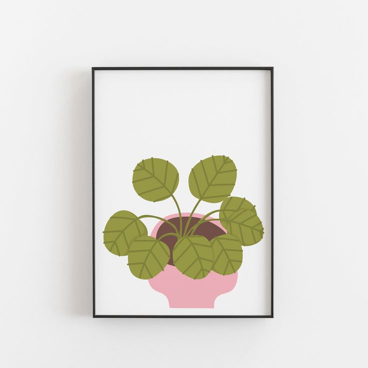 Pilea Pink Plant Art Print, Houseplant Art Print, Plant Lady Art, Modern Wall Art A5, A4, A3, Botanical Print, Chinese Money Plant – Houseplant Obsessed