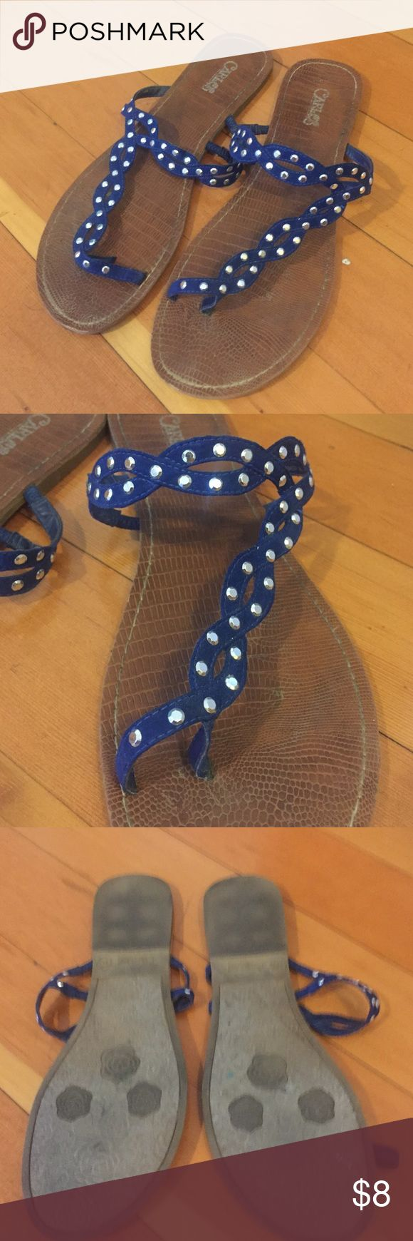 Carlos Santana toe ring sandals These blue toe ring sandals are embellished with silver studs for a cute appearance! Gentle worn still in good condition Carlos Santana Shoes Sandals