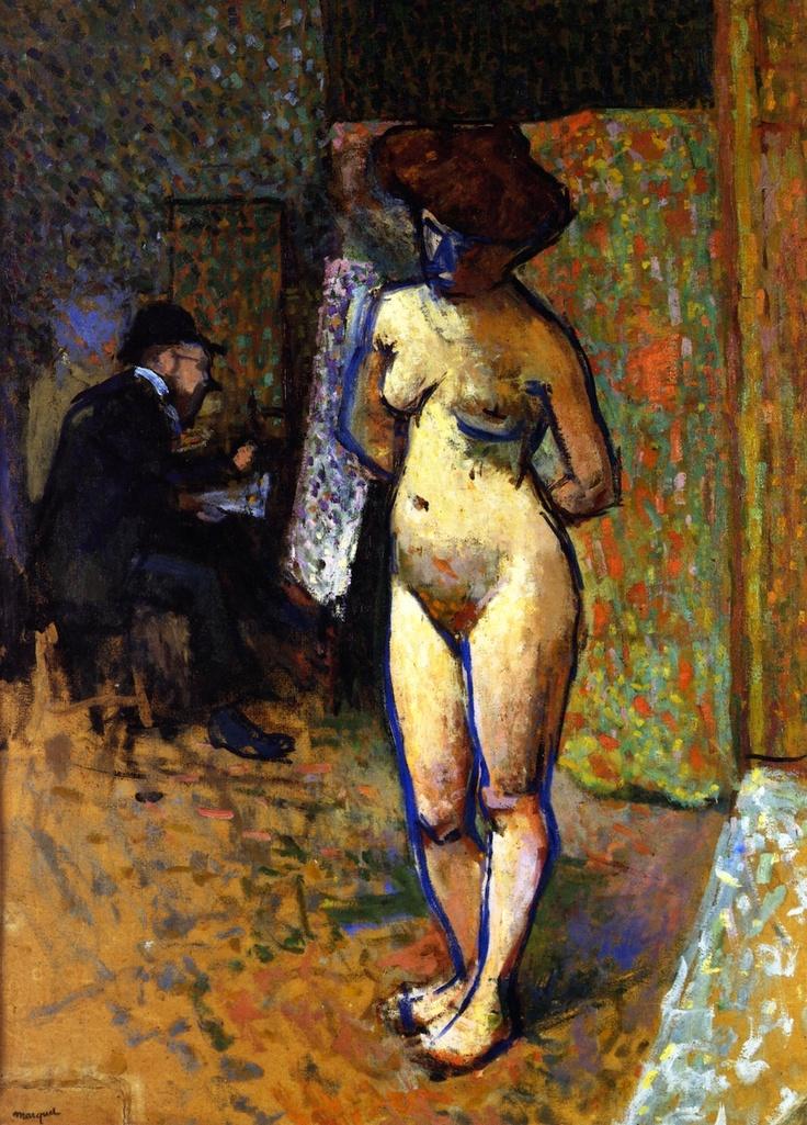 Albert Marquet [Francia 1875\1947] > Matisse in Manguin's Studio > 1905 > óleo\cardboard > 100x73cm.