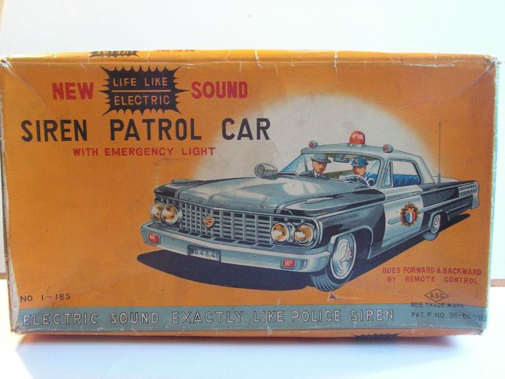 ASC japan TIN TOY FORD GALAXIE HIGHWAY PATROL SIREN PATROL CAR JOUET TOLE 50/60