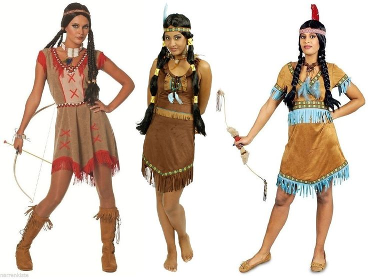 Indianer Indianerin Sioux Squaw Apache Wilder Westen Kostüm Kleid Indianerkostüm