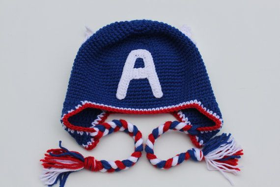 Crochet Captain America Hat Blue / Red / White by LenasBoutique