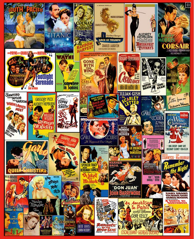 """Movie Postersis a 1000 piece collage jigsaw puzzle from White Mountain. Puzzle measures 24"""" x 30"""" when complete.:"""