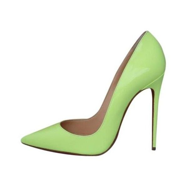 Christian Louboutin So Kate 120 Pigalle Neon Patent 37.5 Yellow Pumps ❤ liked on Polyvore featuring shoes, pumps, neon patent leather pumps, neon pumps, fluorescent yellow pumps, patent leather pumps and christian louboutin shoes