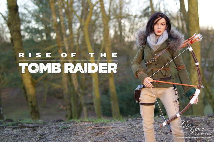 Custom Lara Croft Tonner doll - Rise of the Tomb Raider : Remnant Jacket by Laragwen Photo - outfit - customization - accessorie - dolls - forest - axes - bow - holster - video game - jeu vidéo - personnalisation - tenue - arc - piolet