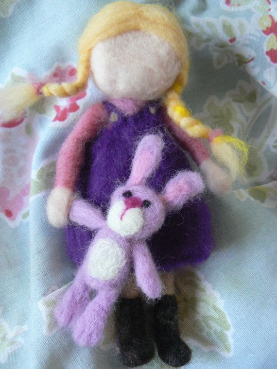 Needle felted doll 'Girl with bunny toy' available at www.etsy.com/lizziedoodlesnz