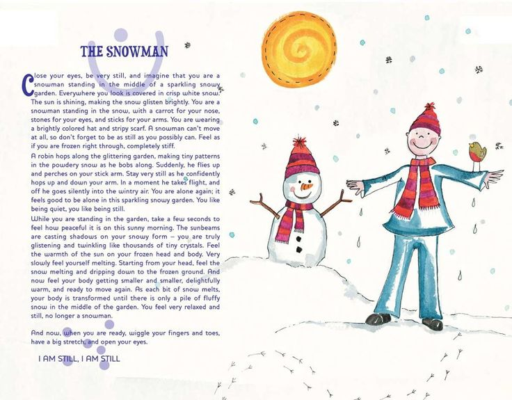 The Snowman guided relaxation story from the 12-12-12 freebies on Relax Kids (thanks to Jenny Amor Williams at Happy Planet Yoga for sharing it!)