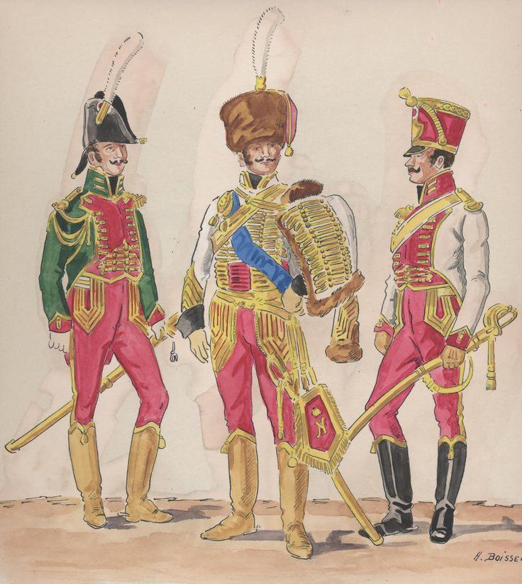 Naples; Garde Royale, Hussar Regiment, Captain, Tenue de Ville,  Colonel, Grande Tenue de Parade & Adjutant-Major, Tenue de Ville, 1814-15 by H.Boisselier.