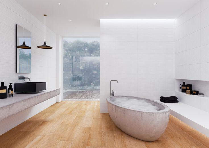 Das Badezimmer in Weiß mit Holz.