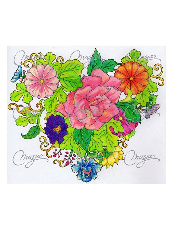 Masja's Flower Heart handdrawn Coloring page by MasjasArtwork, $2.00