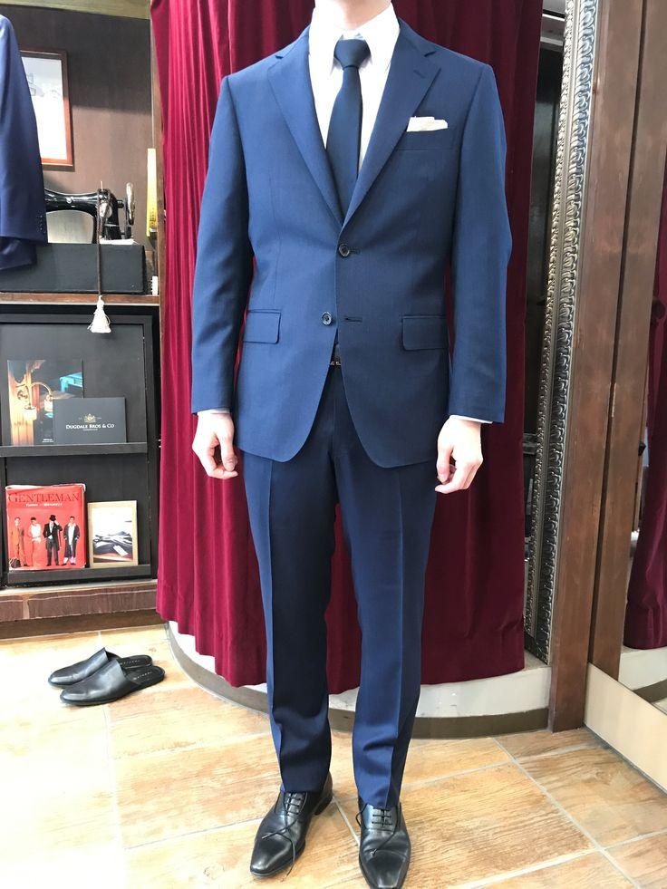 【お仕立て例】CANONICOウール100%のネイビースーツ