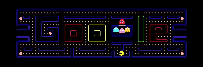 google doodles pacman   Click the pic. than click insert coin lol It's an Interactive Google doodle :)