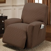 Found it at Wayfair - Newport Recliner Stretch Slipcover. Seems VERY hard to find RV recliner slipcovers--this site has TONS that stretch to fit...  :)