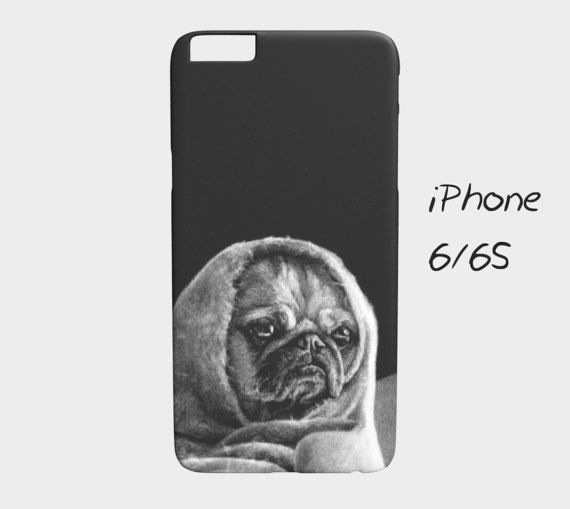 """Black and white puppers phone case """"Grumpy"""", iPhone 5, 5S, 6, 6S, 7, 7S, Samsung Galaxy S5, S6, S7, Edge, Cute, adorable, dog, puppy"""