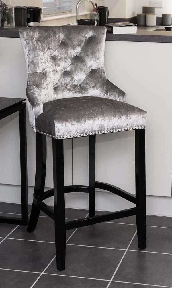 Silver Crushed Velvet Upholstered Buttoned Bar Stool With Silver