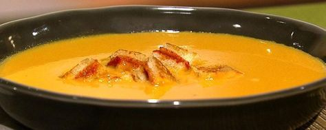 Carla Hall's Yellow Tomato Soup with Grilled Cheese Croutons Recipe | The Chew - ABC.com