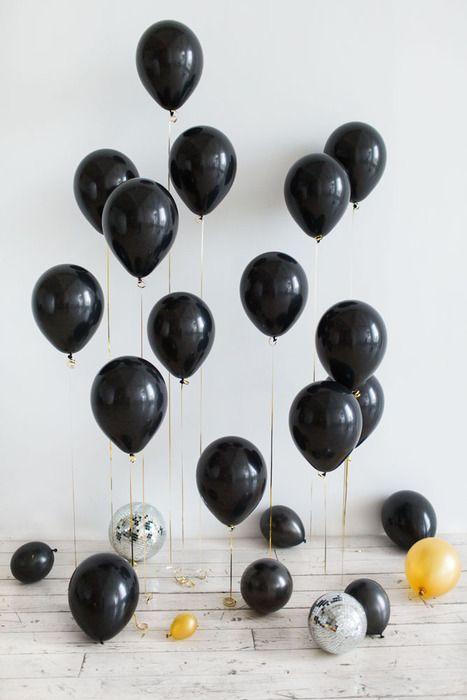 Воздушные шары 30 см, черные, 15 шт.