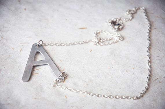 Sideways initial necklace personalized chain by SilviaWithLove